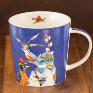 blue color mug holiday party friends birds design