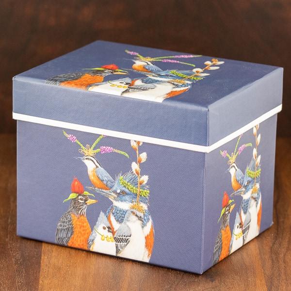 blue color mug box holiday party friends birds design