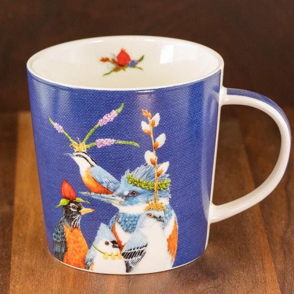 blue color mug holiday party friends birds design