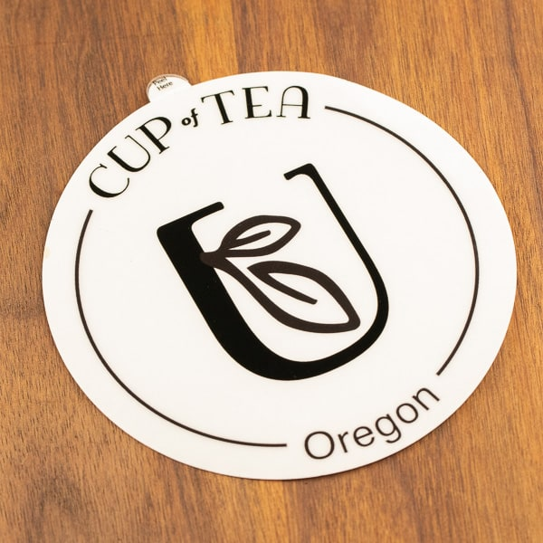 clear and black cup of tea logo sticker waterproof