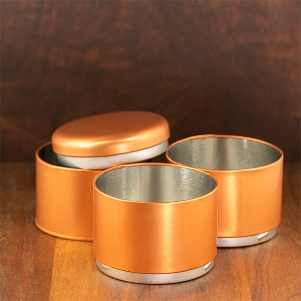 copper color tri stacking tin 3 tins unstacked