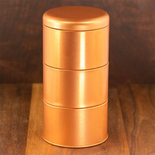 copper color tri stacking tin