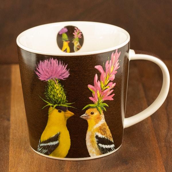 goldfinch couple mug