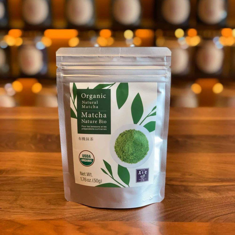Bag of matcha powder.