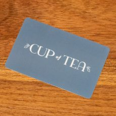 cup of tea gift card on table